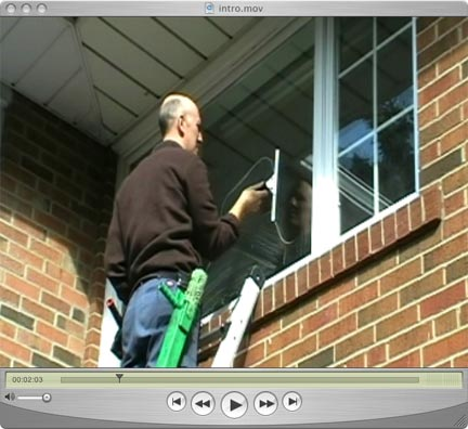 window cleaner on a ladder